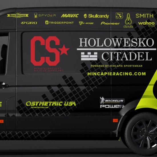 hincapie racing team vehicle wrap